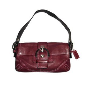 Coach Bag Red Leather Soho Buckle Small Flap Hobo Burgundy Maroon 8A05